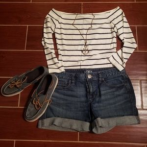 LOFT Denim Roll Shorts